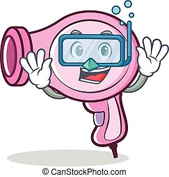 Diving hair dryer character vector