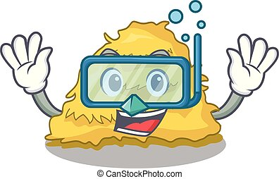 Diving hay bale character cartoon vector illustration