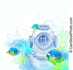 Diving helmet and tropical fishes