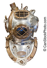 Diving helmet, isolated - Diving helmet in brass and steel ...