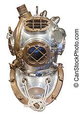 Diving helmet, isolated - Diving helmet in brass and steel...