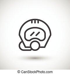 Diving helmet line icon