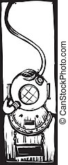 Diving Helmet - mark V classic diving helmet in a woodcut...
