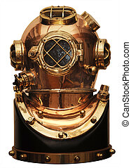 diving helmet - vintage deep sea diving helmet isolated on...