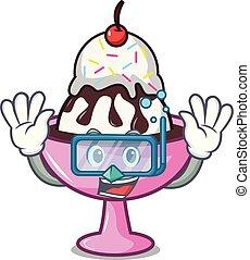 Diving ice cream sundae character cartoon vector...