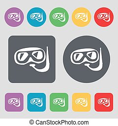 Diving icon sign. A set of 12 colored buttons. Flat design. Vector