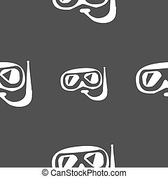 Diving icon sign. Seamless pattern on a gray background. Vector