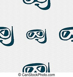 Diving icon sign. Seamless pattern with geometric texture. Vector