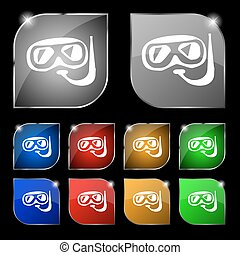 Diving icon sign. Set of ten colorful buttons with glare. Vector