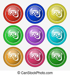Diving icon sign. symbol on nine round colourful buttons. Vector