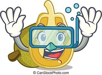 Diving jackfruit character cartoon style vector illustration
