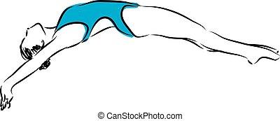 diving jump 2 swimmer woman illustration