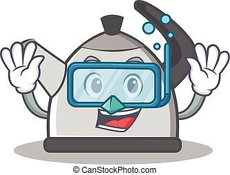 Diving kettle character cartoon style vector illustration