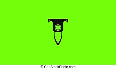 Diving knife icon animation best simple object on green screen background