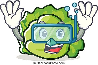 Diving lettuce character cartoon style