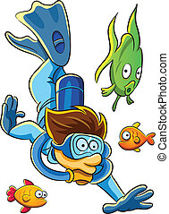 Diving Man - cartoon illustration of diving man with many...