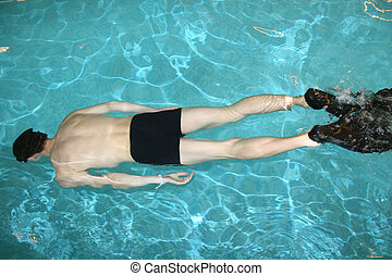 diving man in pool