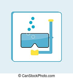 Diving Mask Flat Style Icon Illustration