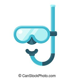 Diving mask icon - Diving mask with snorkel flat icon, ...