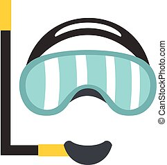Diving mask icon, flat style