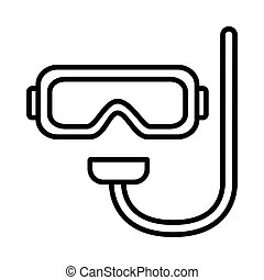 Diving mask icon on white background, vector illustration