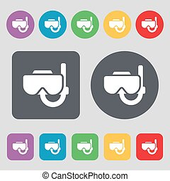 Diving mask icon sign. A set of 12 colored buttons. Flat design. Vector