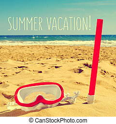 diving mask on the beach and text summer vacation