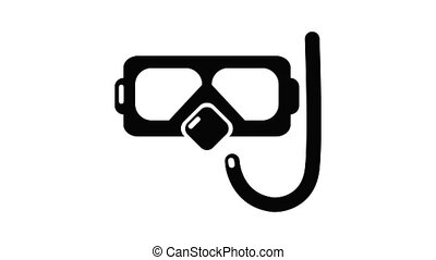 Diving mask snorkel icon animation simple best object on white