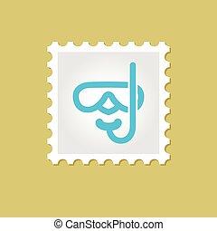 Diving Mask vector stamp