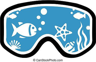 Diving mask with fish and underwater life