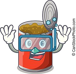 Diving metal food cans on a cartoon vector illustration