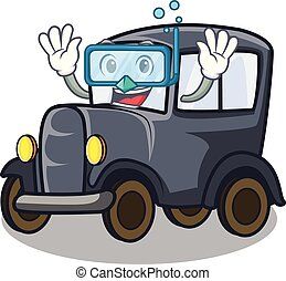 Diving old car isolated in the cartoon