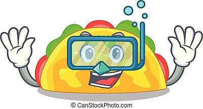 Diving omelatte is fried on character teflon vector ...