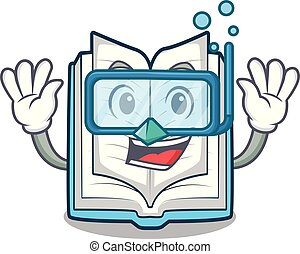 Diving opened book isolated in the character