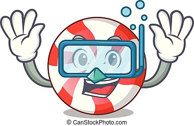 Diving peppermint candy character cartoon