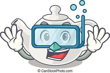 Diving porcelain teapot ceramic isolate on mascot