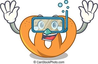 Diving pretzel character cartoon style