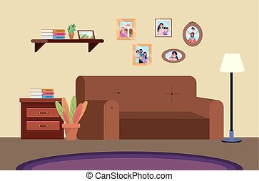 diving room with sofa and family pictures