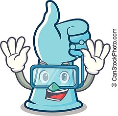 Diving rubber gloves character cartoon vector illustration