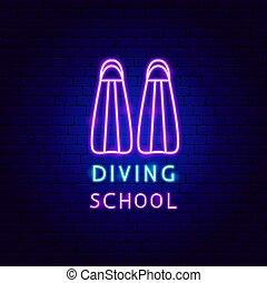 Diving School Neon Label