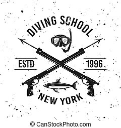 Diving school vector emblem with two spearguns