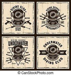 Diving set of four vector brown vintage emblems