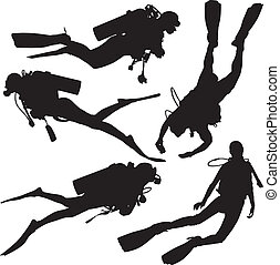 Diving Silhouette on white background