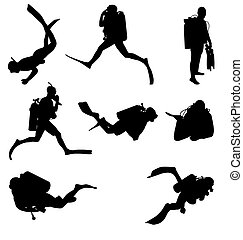 diving silhouettes set - many divers with high detail