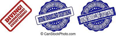 DIVING! SNORKELING! EVERYTHING! Grunge Stamp Seals
