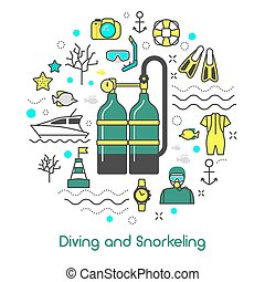 Diving Snorkeling Scuba Equipment Line Art Thin Vector Icons Set