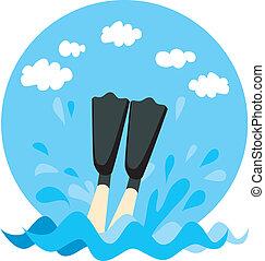 Diving Splash - Person legs splashing on water with diving...