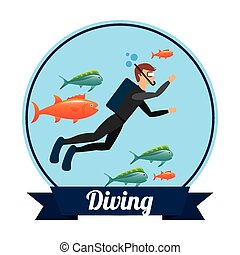 diving sport design, vector illustration eps10 graphic
