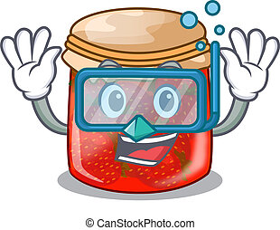 Diving strawberry marmalade in glass jar of cartoon