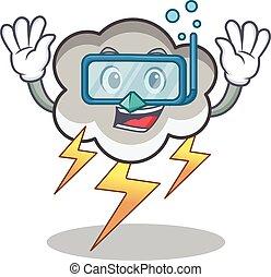 Diving thunder cloud character cartoon vector illustration